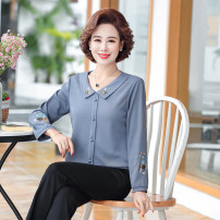 Middle aged and old women's wear Spring 2020 Color one, color two, color three XL,XXL,XXXL,4XL,5XL fashion shirt easy singleton  Solid color 40-49 years old Socket thin routine routine other Button Long sleeves