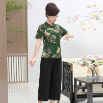 Middle aged and old women's wear Summer 2020 XL,XXL,XXXL,4XL,5XL fashion T-shirt easy singleton  Decor 40-49 years old Socket thin V-neck routine routine Other / other Chiffon, polyester Short sleeve