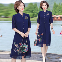 Middle aged and old women's wear Summer 2020 Red, Navy XL,XXL,XXXL,4XL,5XL ethnic style Dress easy singleton  Decor 40-49 years old Socket thin Crew neck routine routine Other / other Chiffon, polyester Chiffon other