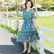 Middle aged and old women's wear Summer 2021 green XL,XXL,XXXL,4XL leisure time Dress easy singleton  Flower and bird pattern 40-49 years old Conjoined moderate Crew neck Medium length routine Jiusailang Medium length