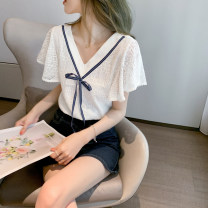 Lace / Chiffon Summer 2021 Short sleeve commute Condom singleton  Straight tube have cash less than that is registered in the accounts V-neck other pagoda sleeve 25-29 years old Luxury 2018 Bows, bandages, lace Korean version 71% (inclusive) - 80% (inclusive) polyester fiber white S,M,L,XL