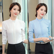 shirt S,M,L,XL,2XL,3XL,4XL,5XL Autumn 2020 other 96% and above Long sleeves commute Regular stand collar Single row multi button routine Solid color 18-24 years old Self cultivation Ol style Ruffles, folds, buttons