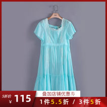 Dress Summer of 2019 Cyan, pink XL,L,M,S longuette singleton  Short sleeve commute Crew neck Solid color Others 30-34 years old Type A