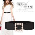 Belt / belt / chain cloth Black, white female Waistband Versatile Single loop Youth, middle age Pin buckle Geometric pattern soft surface 6cm alloy Naked, elastic