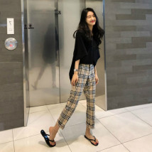 Casual pants Main graph color S M L Summer of 2018 Ninth pants Straight pants High waist routine 25-29 years old 51% (inclusive) - 70% (inclusive)