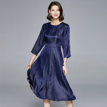 Dress Summer 2020 blue S,M,L,XL Mid length dress singleton  three quarter sleeve commute Crew neck High waist Solid color zipper A-line skirt raglan sleeve Others 30-34 years old Type A Retro 51% (inclusive) - 70% (inclusive) other other