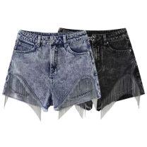 Jeans Summer 2021 Denim blue, black grey S,M,L,XL shorts High waist Haren pants routine Metal decoration other A3HBB2310 Peacebird 96% and above