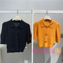 Wool knitwear Summer 2021 S,M,L,XL Black, orange Short sleeve singleton  Socket Viscose 91% (including) - 95% (excluding) Regular routine commute Self cultivation Polo collar routine Solid color Socket Korean version A1EEB2A06 Peacebird Button