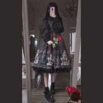 Dress Summer 2020 black M (small), l (large) Mid length dress singleton  Sleeveless Sweet One word collar High waist Decor Socket A-line skirt straps Under 17 Type A Bowknot, ruffle, tridimensional decoration, lace, printing 31% (inclusive) - 50% (inclusive) Chiffon Lolita