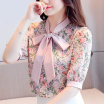 Lace / Chiffon Summer 2021 Green, pink, black [skirt] S,M,L,XL,2XL Short sleeve commute Cardigan singleton  easy Regular V-neck Decor puff sleeve Bowknot, lace, print, stitching, button Korean version 91% (inclusive) - 95% (inclusive) polyester fiber