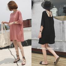 Dress Summer 2021 Black, skin pink L [recommended 100-115 kg], XL [recommended 115-130 kg], 2XL [recommended 130-150 kg], 3XL [recommended 150-170 kg], 4XL [recommended 170-200 kg] Middle-skirt street 25-29 years old Other / other cotton