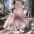 skirt Spring 2021 Average size Apricot, black, lotus root pink, khaki Mid length dress Versatile High waist Pleated skirt Solid color Type A 18-24 years old other Other / other