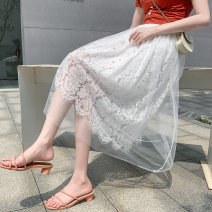 skirt Summer 2020 Average size White, black Mid length dress Versatile High waist Pleated skirt Solid color Type A 18-24 years old Lace