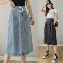skirt Summer 2021 S,M,L,XL Blue, black and gray Mid length dress Versatile High waist A-line skirt Type A 25-29 years old