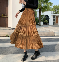 skirt Winter of 2019 Average size Mid length dress Versatile Natural waist Pleated skirt Type A Splicing