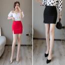 skirt Summer 2021 S,M,L,XL,2XL Red, black Short skirt Versatile High waist skirt Solid color 25-29 years old