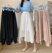 skirt Summer 2021 Average size Light gray, off white, pink, blue, black Mid length dress Versatile High waist Irregular Solid color Type A 18-24 years old A311 Fold, asymmetry, wave