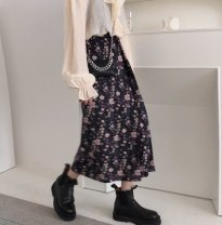 skirt Spring 2021 S,M,L Picture color longuette commute High waist A-line skirt Broken flowers Type A 18-24 years old Chiffon polyester fiber printing