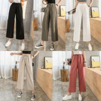 Casual pants White, red, green, black, light khaki S,M,L,XL,2XL Spring 2020 Ninth pants Wide leg pants High waist commute Thin money 25-29 years old Korean version
