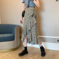 skirt Summer 2021 S,M,L Red flower, green flower Mid length dress Versatile High waist Irregular Decor Type H 18-24 years old Chiffon