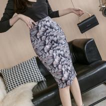 skirt Autumn 2020 S,M,L,XL Decor Mid length dress commute High waist skirt Decor Type H 71% (inclusive) - 80% (inclusive) other other Korean version