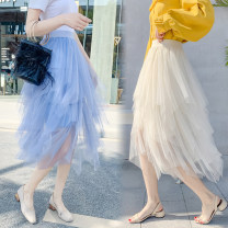 skirt Spring 2021 Average size Blue, apricot, gray, black, white, purple, pink Mid length dress Versatile Natural waist Irregular Solid color Type A 18-24 years old Other / other