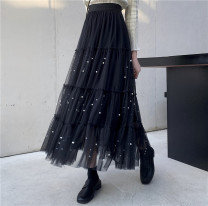 skirt Spring 2021 Average size Apricot, black longuette commute High waist A-line skirt Solid color Type A 25-29 years old 30% and below Chiffon polyester fiber Gauze Korean version