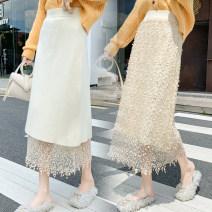 skirt Autumn 2020 S,M,L,XL Apricot, black Mid length dress commute High waist A-line skirt Solid color Type H brocade Embroidery Korean version