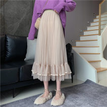 skirt Winter 2020 Average size Apricot, black Mid length dress commute High waist A-line skirt Solid color Type A 18-24 years old 81% (inclusive) - 90% (inclusive) other polyester fiber fold Korean version