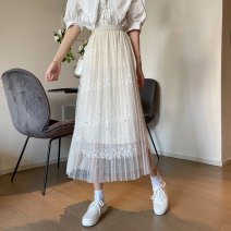 skirt Summer 2021 Average size Apricot, black, white Mid length dress Versatile High waist Pleated skirt Solid color Type A 18-24 years old