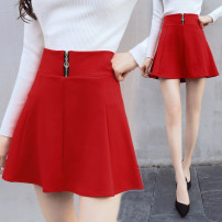 skirt Summer 2021 S,M,L,XL,2XL Red, black Short skirt Versatile High waist Umbrella skirt Solid color Type A 25-29 years old brocade Other / other nylon