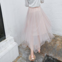 skirt Fall 2017 Average size Light grey, black, pink Mid length dress commute High waist Irregular Solid color Type A 18-24 years old 51% (inclusive) - 70% (inclusive) other Fold, asymmetry, web