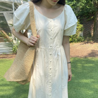 Dress Summer 2021 white Average size longuette singleton  Short sleeve commute V-neck High waist Solid color Single breasted puff sleeve Others 18-24 years old Other / other Korean version cotton