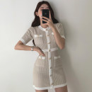 Dress Summer 2020 Off white, black Average size Middle-skirt singleton  Short sleeve commute Crew neck High waist Single breasted 18-24 years old Other / other Korean version 81% (inclusive) - 90% (inclusive)