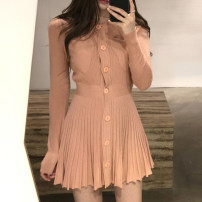 Dress Autumn of 2019 Average size Short skirt singleton  Long sleeves commute Crew neck Solid color Single breasted 18-24 years old Other / other Korean version