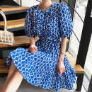 Dress Summer 2020 blue M, L Middle-skirt singleton  elbow sleeve commute Crew neck Loose waist Decor Socket A-line skirt puff sleeve Others 18-24 years old Type A Other / other Korean version Ruffle, Auricularia auricula, lace up, stitching, printing 71% (inclusive) - 80% (inclusive)