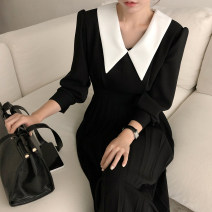 Dress Autumn 2020 black S,M,L longuette singleton  Long sleeves commute High waist 25-29 years old Type A Other / other Korean version More than 95%