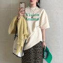 T-shirt Cream T, pitaya T, leopard Skirt M, leopard skirt s Average size Spring 2021 Long sleeves Crew neck easy Regular routine commute other 51% (inclusive) - 70% (inclusive) 30-34 years old Korean version letter Other / other printing