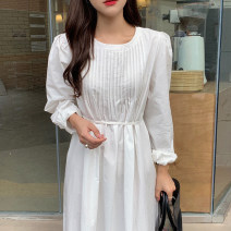Dress Summer 2021 Apricot, white Average size Mid length dress singleton  Long sleeves commute Crew neck Solid color puff sleeve 18-24 years old Other / other Korean version 51% (inclusive) - 70% (inclusive)