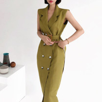 Dress Summer 2021 Picture color Average size Mid length dress singleton  Sleeveless commute tailored collar High waist Solid color 18-24 years old Other / other Korean version