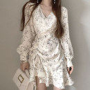 Dress Spring 2021 navy blue , Apricot white Average size Short skirt singleton  Long sleeves commute V-neck lattice Socket Big swing puff sleeve 18-24 years old Type X Other / other Korean version printing 51% (inclusive) - 70% (inclusive) cotton