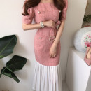 Dress Summer 2021 Yellow, pink Average size longuette Short sleeve commute square neck puff sleeve 18-24 years old Other / other Korean version 51% (inclusive) - 70% (inclusive)