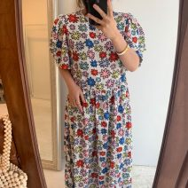 Dress Summer 2021 white Average size longuette singleton  Short sleeve commute Crew neck Decor puff sleeve Others 18-24 years old Other / other Korean version