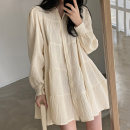 Dress Spring 2021 Apricot, black Average size Short skirt singleton  Long sleeves commute Polo collar Loose waist Solid color Single breasted A-line skirt puff sleeve 18-24 years old Type A Other / other polyester fiber