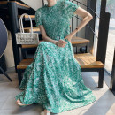 Dress Summer 2020 green Average size longuette singleton  Short sleeve commute Crew neck High waist Decor Socket Big swing puff sleeve Others 18-24 years old Type A Other / other Retro Fold, print 71% (inclusive) - 80% (inclusive)