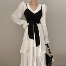 Dress Spring 2021 White dress, black dress, black breast Average size longuette Two piece set Long sleeves commute V-neck High waist Solid color Socket Irregular skirt pagoda sleeve camisole 18-24 years old Type A Other / other Korean version Splicing 51% (inclusive) - 70% (inclusive) polyester fiber