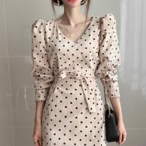 Dress Autumn 2020 Khaki, camel S,M,L longuette singleton  Long sleeves commute V-neck Dot 18-24 years old Other / other Korean version