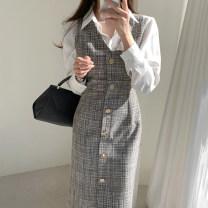 Dress Autumn 2020 Off white shirt, black dress, apricot dress S,M,L longuette singleton  Sleeveless commute V-neck lattice 18-24 years old Other / other Korean version