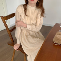 Dress Spring 2021 Apricot, white Average size Mid length dress singleton  Long sleeves commute stand collar Solid color routine Others 18-24 years old Other / other Korean version