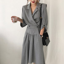 Dress Autumn of 2019 Picture color Average size Mid length dress singleton  Long sleeves commute tailored collar High waist lattice Irregular skirt 18-24 years old Other / other Korean version